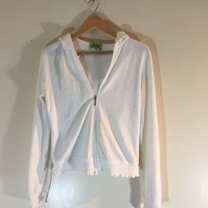 Authentic Juicy Couture Hoodie White+Ruffled Trim
